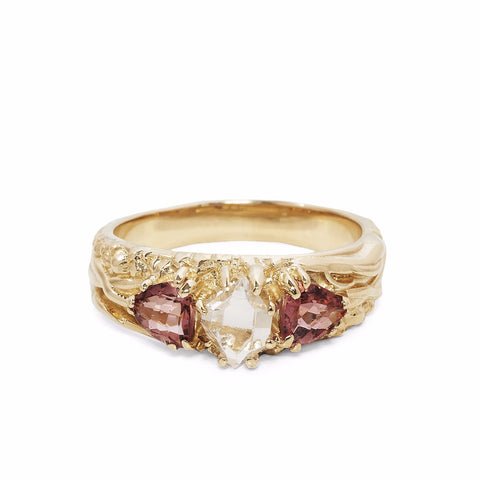 TRI-REALM MATRIX RING | 14k GOLD | HERKIMER DIAMOND & PINK TOURMALINE