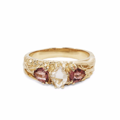 READY TO SHIP | TRI-REALM MATRIX RING | 14k GOLD | HERKIMER DIAMOND & PINK TOURMALINE