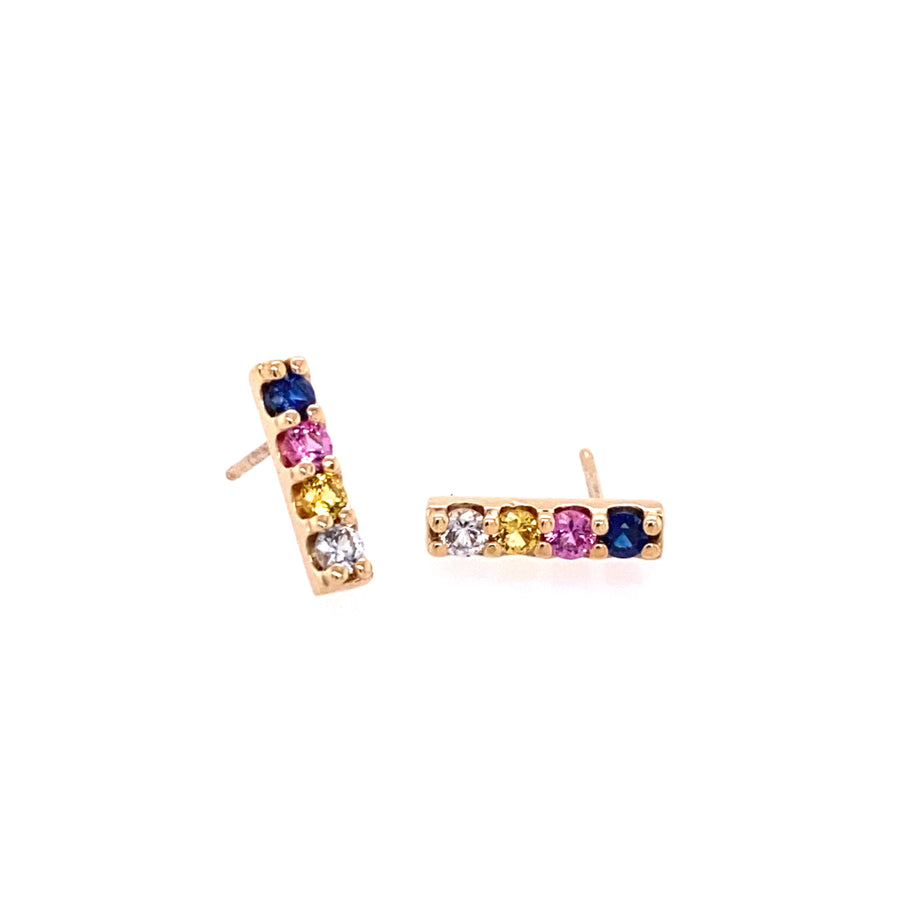 IN STOCK | BAR STUDS | 14K YELLOW GOLD & SAPPHIRES