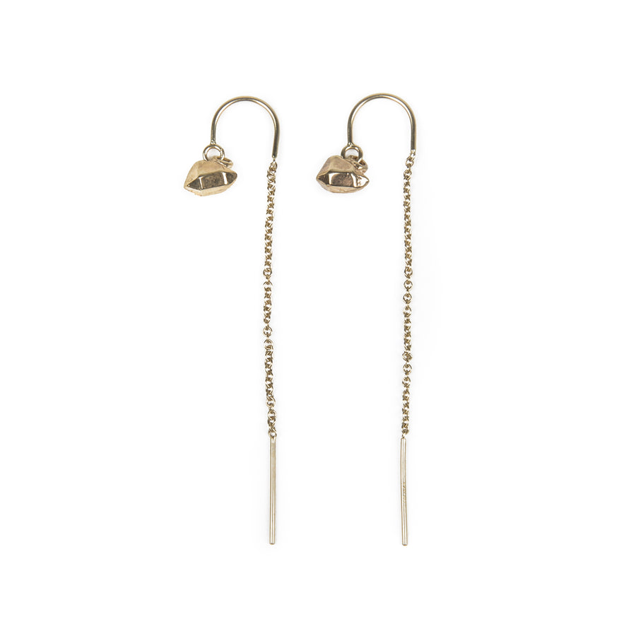 CAST CRYSTAL THREADER U-BAR EARRINGS | GOLD VERMEIL