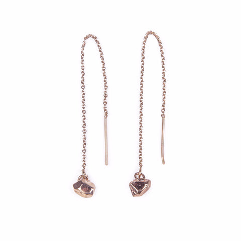 CAST CRYSTAL THREADER EARRINGS | ROSE GOLD VERMEIL - AngelaMonacojewelry