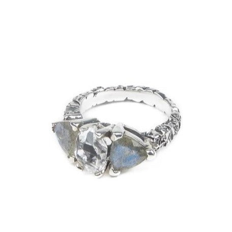 STONE AGE COCKTAIL RING | SILVER AND LABRADORITE - AngelaMonacojewelry