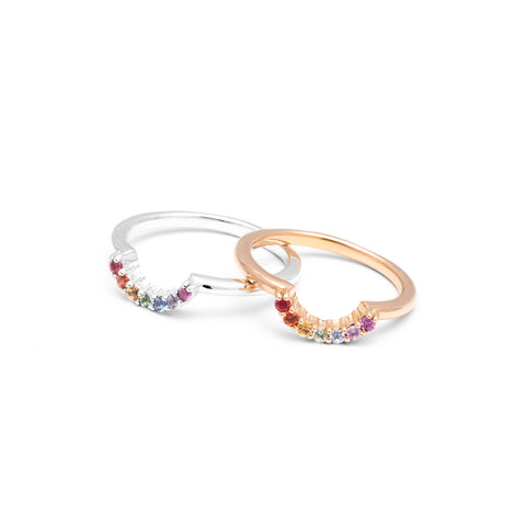 READY TO SHIP | RAINBOW CONTOUR BAND | GOLD VERMEIL & SAPPHIRES - AngelaMonacojewelry