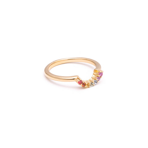 RAINBOW CONTOUR BAND | 14k GOLD & SAPPHIRES - AngelaMonacojewelry