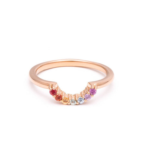 RAINBOW CONTOUR BAND | ROSE GOLD & SAPPHIRES - AngelaMonacojewelry