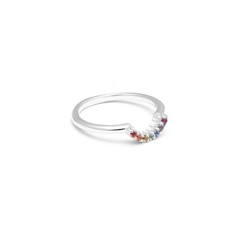 RAINBOW CONTOUR BAND | WHITE GOLD | SAPPHIRES - AngelaMonacojewelry
