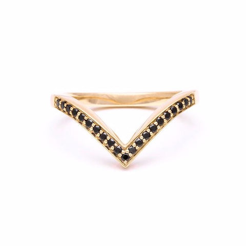 CHEVRON STACKING RINGS | GOLD & BLACK DIAMONDS - AngelaMonacojewelry