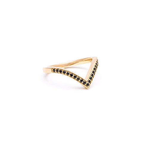BLACK DIAMOND CHEVRON STACKING RINGS | GOLD - AngelaMonacojewelry