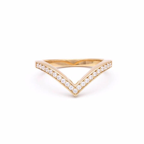 PAVE CHEVRON STACKING RINGS | 14k GOLD & WHITE DIAMOND - AngelaMonacojewelry
