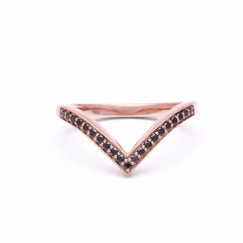 PAVÉ CHEVRON RING | ROSE GOLD & BLACK DIAMOND - AngelaMonacojewelry