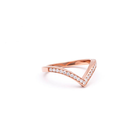 PAVE CHEVRON STACKING RINGS | ROSE GOLD & WHITE DIAMOND - AngelaMonacojewelry