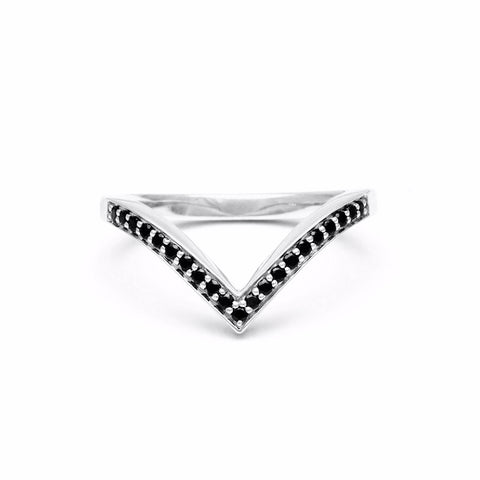 PAVE CHEVRON STACKING RING | SILVER & BLACK DIAMOND - AngelaMonacojewelry