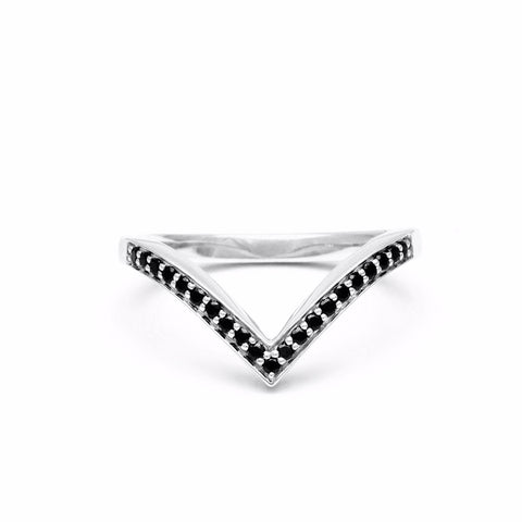 PAVÉ CHEVRON STACKING RINGS | WHITE GOLD & BLACK DIAMONDS - AngelaMonacojewelry