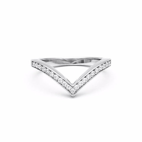 PAVE CHEVRON STACKING RINGS | 14k WHITE GOLD & DIAMONDS - AngelaMonacojewelry