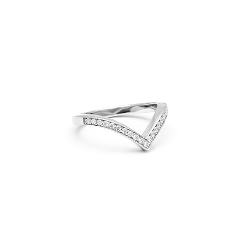 PAVÉ CHEVRON STACKING RINGS | SILVER & WHITE DIAMONDS - AngelaMonacojewelry