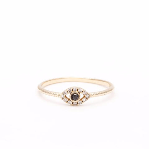 DIAMOND EVIL EYE RING | 14k GOLD - AngelaMonacojewelry