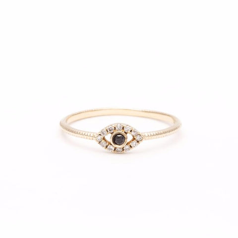 READY TO SHIP | DIAMOND EVIL EYE RING | 14k GOLD - AngelaMonacojewelry