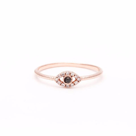 DIAMOND EVIL EYE RING | ROSE GOLD - AngelaMonacojewelry