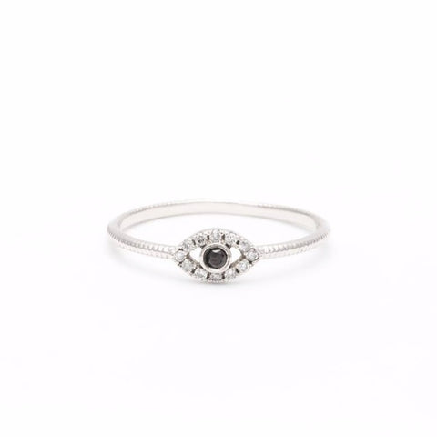 DIAMOND EVIL EYE RING | WHITE GOLD - AngelaMonacojewelry