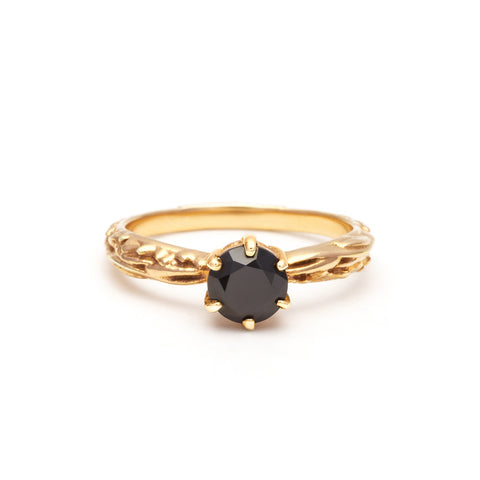 FACETED MATRIX SOLITAIRE RING | GOLD VERMEIL & ONYX