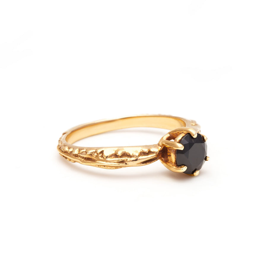 FACETED MATRIX SOLITAIRE RING | YELLLOW GOLD VERMEIL & ONYX