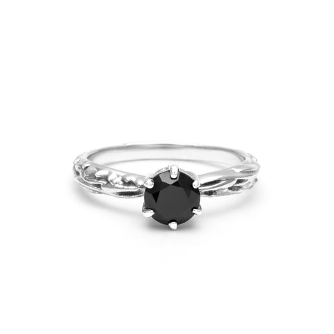 FACETED MATRIX SOLITAIRE RING | SILVER & ONYX