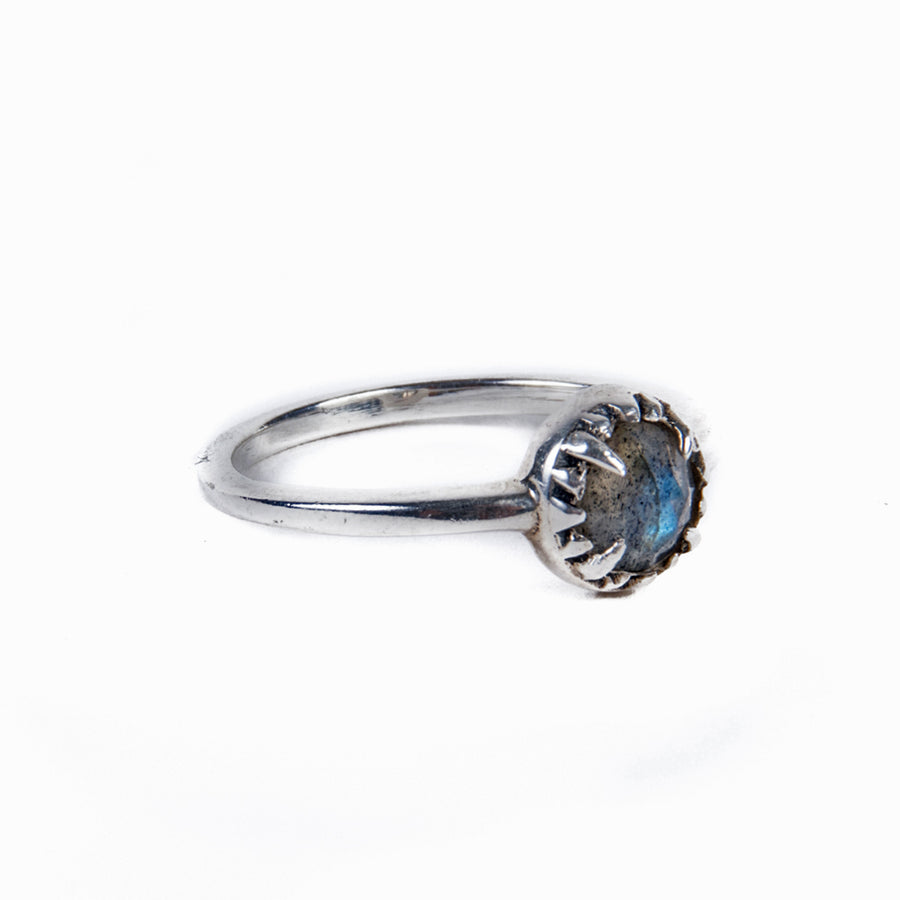 MATRIX HALO RING | SILVER & LABRADORITE - AngelaMonacojewelry