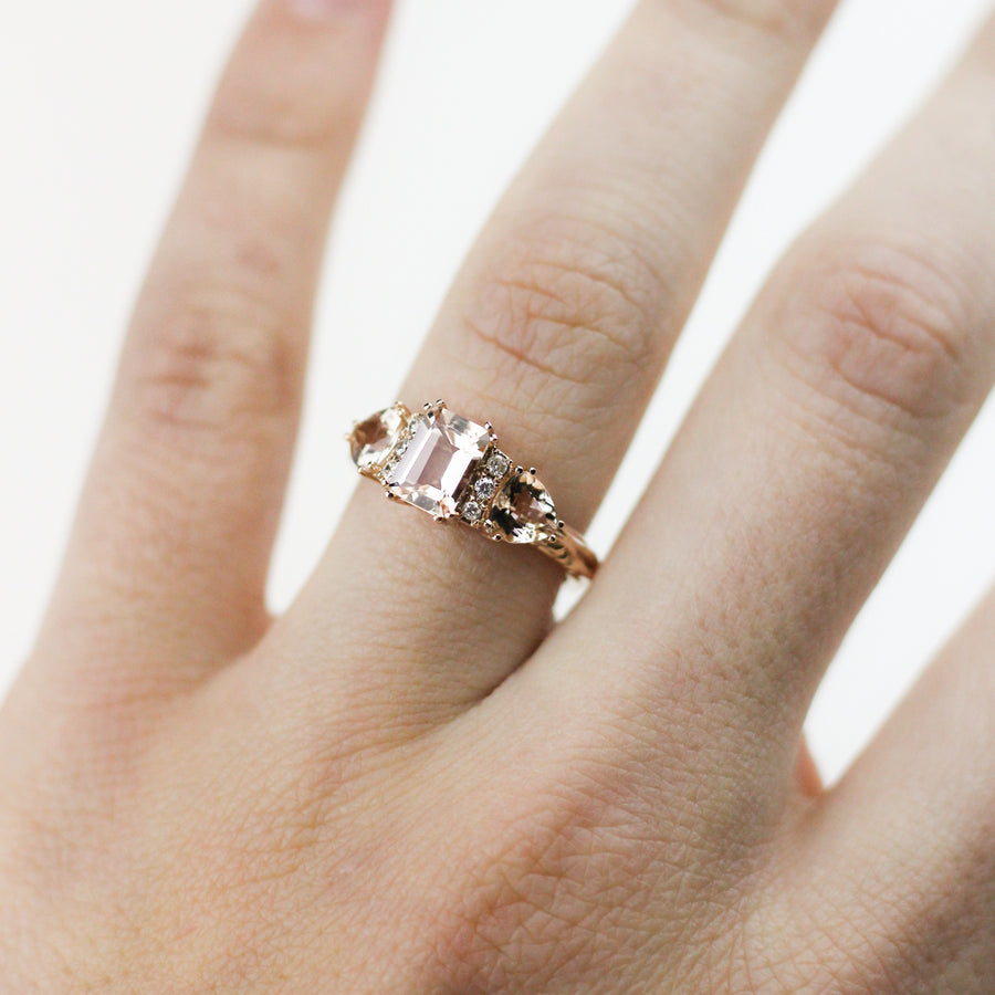 BONADONNA ENGAGEMENT RING | 14K ROSE GOLD | MORGANITE & WHITE DIAMOND
