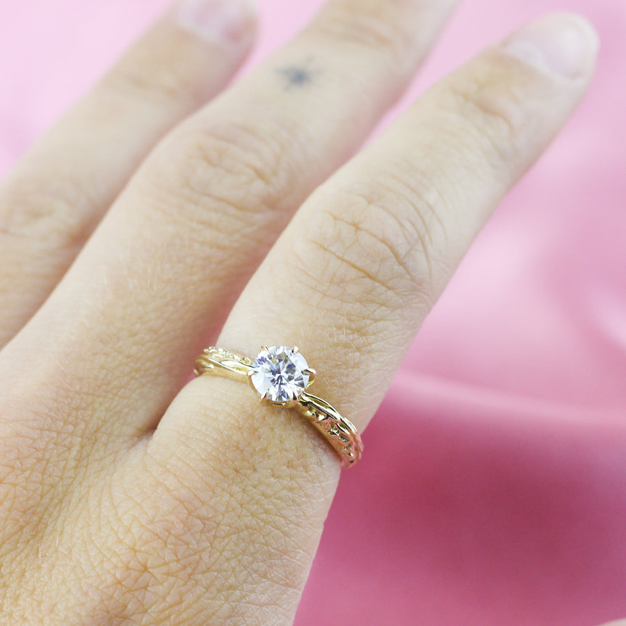 FACETED MATRIX SOLITAIRE RING | 14K WHITE GOLD & LAB CREATED DIAMONDS
