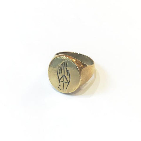 READY TO SHIP | PROTECTION SIGNET RING | BRASS - AngelaMonacojewelry
