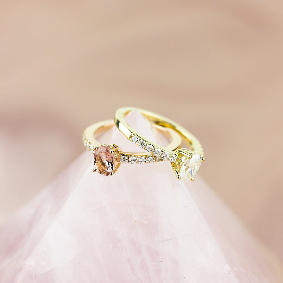 IN STOCK | BALLERINA ENGAGEMENT RING | 14K ROSE GOLD | PINK MORGANITE & DIAMONDS