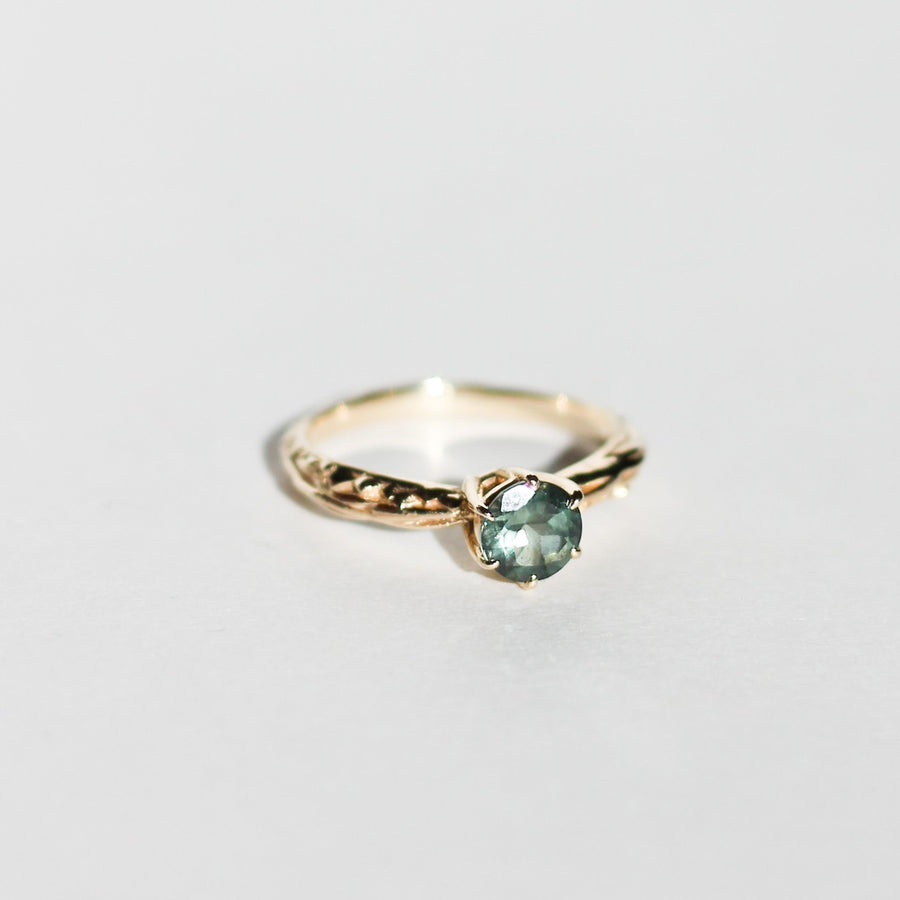 FACETED MATRIX SOLITAIRE | 14K GOLD & GREEN TOURMALINE