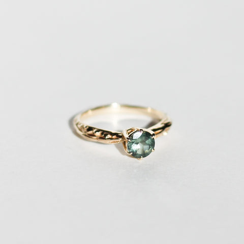 READY TO SHIP | FACETED MATRIX SOLITAIRE | 14K GOLD & GREEN TOURMALINE
