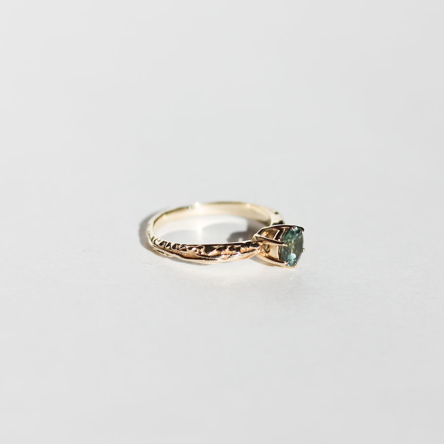 IN STOCK | FACETED MATRIX SOLITAIRE | 14K YELLOW GOLD & GREEN TOURMALINE