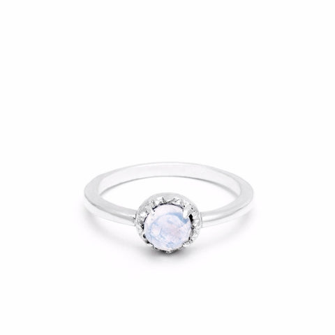 MATRIX HALO RING | SILVER & MOONSTONE - AngelaMonacojewelry