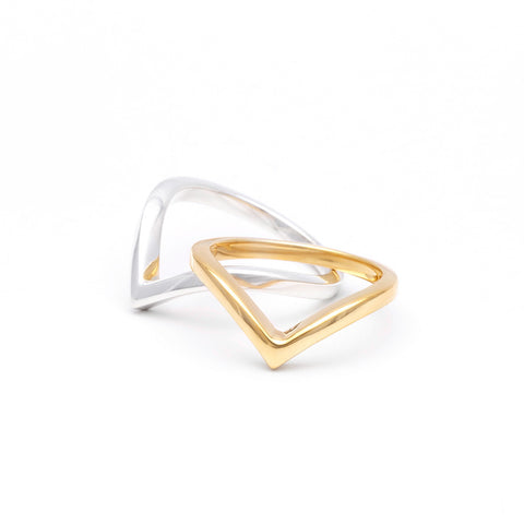 CHEVRON STACKING RING | 14k GOLD - AngelaMonacojewelry