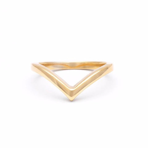 CHEVRON STACKING RING | GOLD VERMEIL - AngelaMonacojewelry