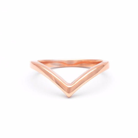 CHEVRON STACKING RING | 14K ROSE GOLD - AngelaMonacojewelry