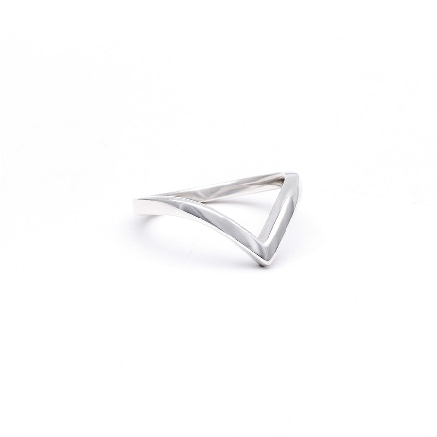 CHEVRON STACKING RING | SILVER - AngelaMonacojewelry