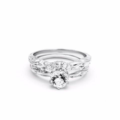 FACETED SOLITAIRE UNION (No. 01) | WHITE GOLD