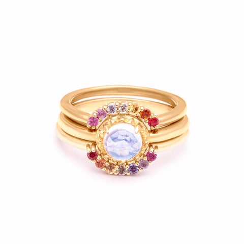 MATRIX HALO RAINBOW UNION (NO. 1) | 14k GOLD & MOONSTONE |  RAINBOW SAPPHIRES - AngelaMonacojewelry