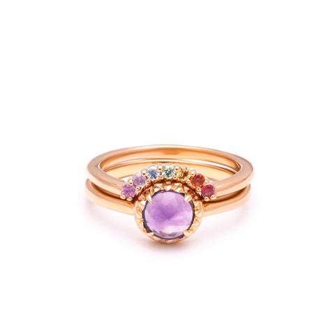 MATRIX HALO UNION (No.3) | ROSE GOLD | AMETHYST | RAINBOW SAPPHIRES - AngelaMonacojewelry