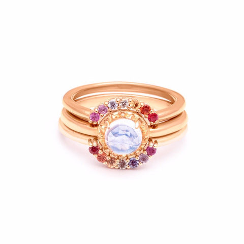 MATRIX HALO UNION (No. 1)  | ROSE GOLD | MOONSTONE | RAINBOW SAPPHIRE - AngelaMonacojewelry