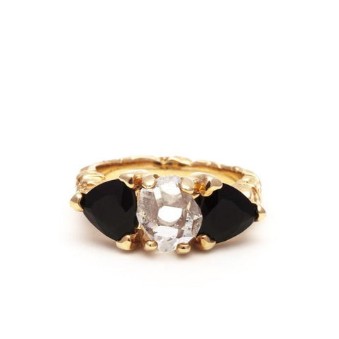 STONE AGE COCKTAIL RING | GOLD VERMEIL & ONYX - AngelaMonacojewelry