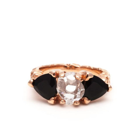 STONE AGE COCKTAIL RING | ROSE GOLD VERMEIL & ONYX - AngelaMonacojewelry