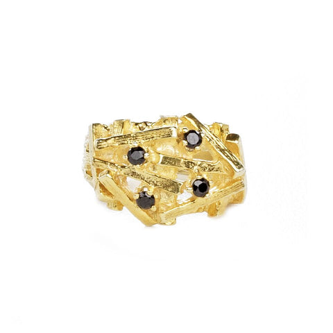 STONES AND BONES RING | GOLD VERMEIL & ONYX - AngelaMonacojewelry