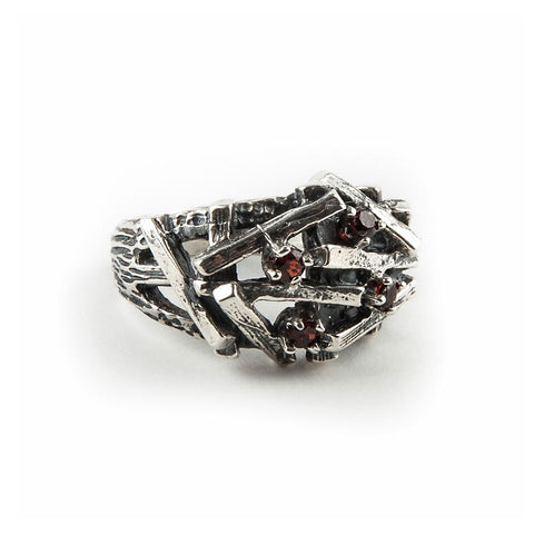 STONES AND BONES RING | SILVER & GARNET - AngelaMonacojewelry