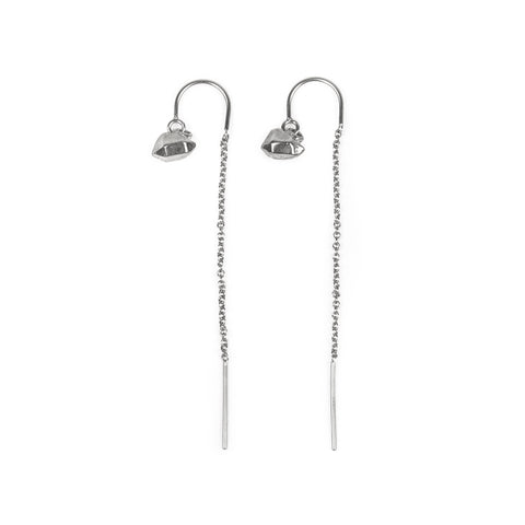 CAST CRYSTAL THREADER U-BAR EARRINGS | SILVER