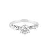 FACETED MATRIX SOLITAIRE RING | 14K WHITE GOLD & MOISSANITE