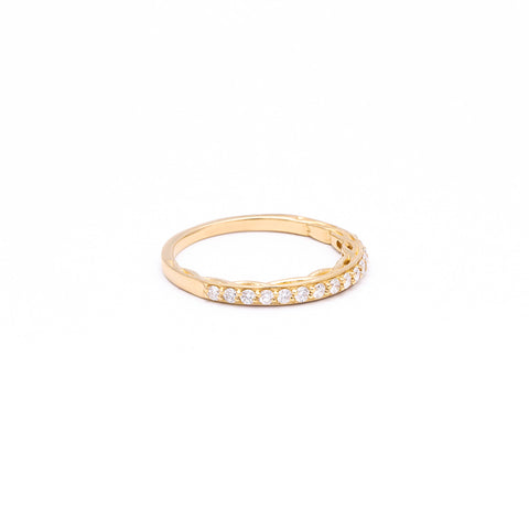 ROOTS CONTOUR BAND | 14K GOLD & DIAMONDS - AngelaMonacojewelry